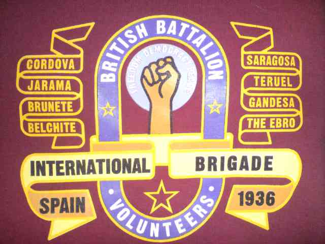 Banner of The British Battalion Volunteers. Click for link to International Brigade Memorial Trust.