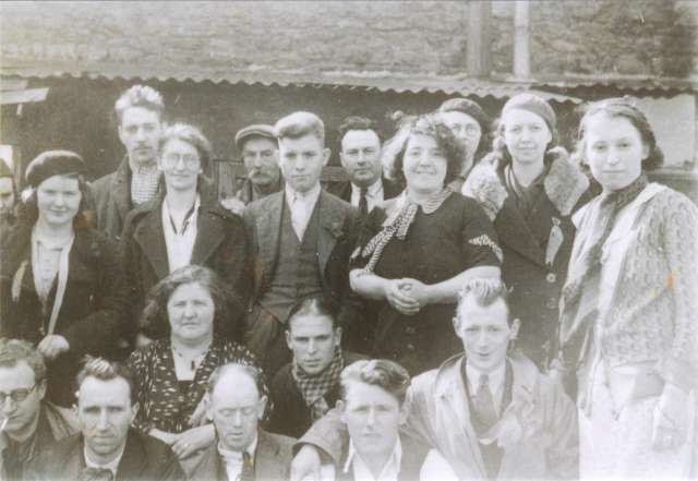 William.D.Lloyd, pictured (centre) with members of the Aberdare Communist Party. Date not verified. Published with kind permission of Mrs.G.Malpas (Cwmbach - Aberdare)